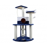 Multi Level Cat Scratching Poles Tree with Ladder Blue