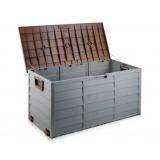 200L Plastic Outdoor Storage Box Container Weatherproof Brown Grey