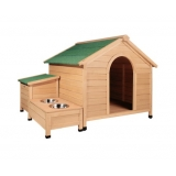 Extra Large Timber Dog Kennel W/ Bowls