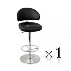 1 x PU Leather Bar Stool - Black