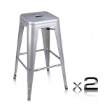 2 x Replica Tolix Metal Steel Bar Stool - Metallic Silver