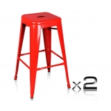 2 x Replica Tolix Metal Steel Bar Stool - Red