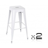 2 x Replica Tolix Metal Steel Bar Stool - White