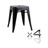 4x Replica Tolix Bar Stool 46cm - Black