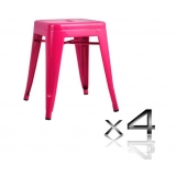 4x Replica Tolix Bar Stool 46cm - Pink