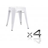 4x Replica Tolix Bar Stool 46cm - White