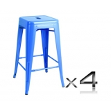 4x Replica Tolix Bar Stool 66cm - Blue