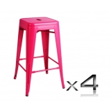 4x Replica Tolix Bar Stool 66cm - Pink