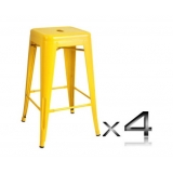4x Replica Tolix Bar Stool 66cm - Yellow