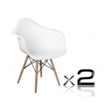 2 x Replica Eames Cafe Chairs Beech - White
