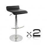 2 x PVC Leather Bar Stool - Black