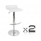 2 x PVC Leather Bar Stool - White