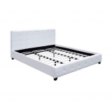 King PU Faux Leather Wooden Bed Frame Midnight W/ Slat Base White