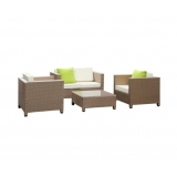 4 Piece Outdoor Sofa Lounge Furniture Set Brown & Beige