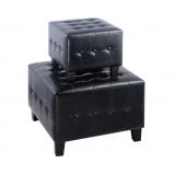 2 Pcs Leatherette Ottoman Cube Home Furniture Black