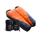 Set of 2 Camping Thermal Sleeping Bag Combo Twin Orange Black