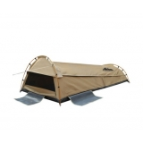 KingSingle Camping Canvas Swag Tent Beige W/ Air Pillow