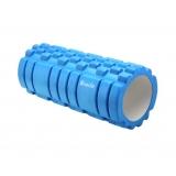 Yoga Gym Pilates EVA Grid Foam Roller Blue 33x14cm