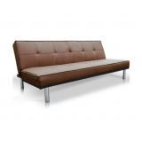 Modern PU Leather 3 Seater Sofa Bed Chocolate