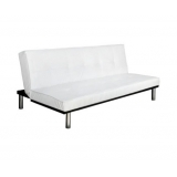 Modern PU Leather 3 Seater Sofa Bed White