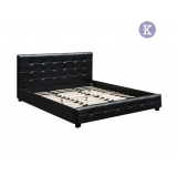 King PU Faux Leather Wooden Bed Frame Midnight Black w/ Slat Base