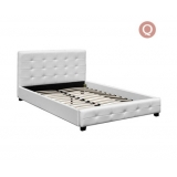 Queen PU Faux Leather Wooden Bed Frame Pure White w/ Slat Base