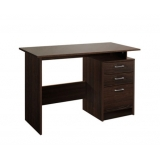 Office Study Computer Desk w/ 3 Drawer Cabinet Walnut Brown