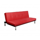 Modern PU leather 3 seater sofa bed Red