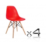 Set of 4 Replica Eames Eiffel DSW Dining Chair Red