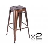 2 x Replica Tolix Metal Steel Bar Stool - Bronze