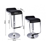 2 x PU Leather Bar Stool - Black