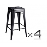 4x Replica Tolix Bar Stool 66cm - Black