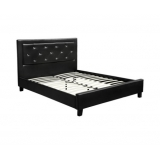Royal Gems Style Double PU Leather Wooden Bed Frame Black