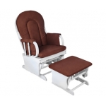 Baby Breast Feeding Sliding Glider Chair with Ottoman Brown