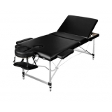 Portable Aluminium 3 Fold Massage Table Chair Bed Black 72cm
