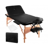 Portable Wooden 3 Fold Massage Table Chair Bed Black 70 cm