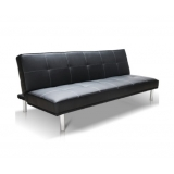Modern PU Leather 3 Seater Sofa Bed Black