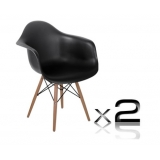 2 x Replica Eames Cafe Chairs Beech - Black