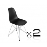 2 x Replica Eames Side Chair - Chrome Black