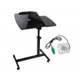 Rotating Mobile Laptop Adjustable Desk with USB Cooler Black