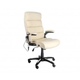6 Point Massage Executive PU Leather Office Computer Chair Beige