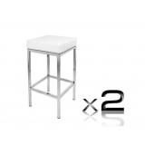 2 x PU Leather Bar Stool - White