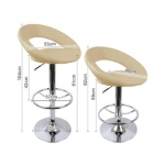 2 x PU Leather Bar Stool - Beige