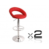 2 x PU Leather Bar Stool - Red