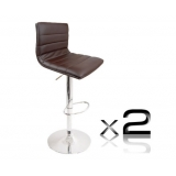 2 x PU Leather Bar Stool - Chocolate