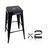 2 x Replica Tolix Metal Steel Bar Stool - Black