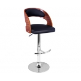 Wooden Bar Stool W/ PU Leather Seat - Black