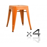4x Replica Tolix Bar Stool 46cm - Orange