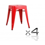 4x Replica Tolix Bar Stool 46cm - Red