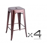 4x Replica Tolix Bar Stool 66cm - Chocolate